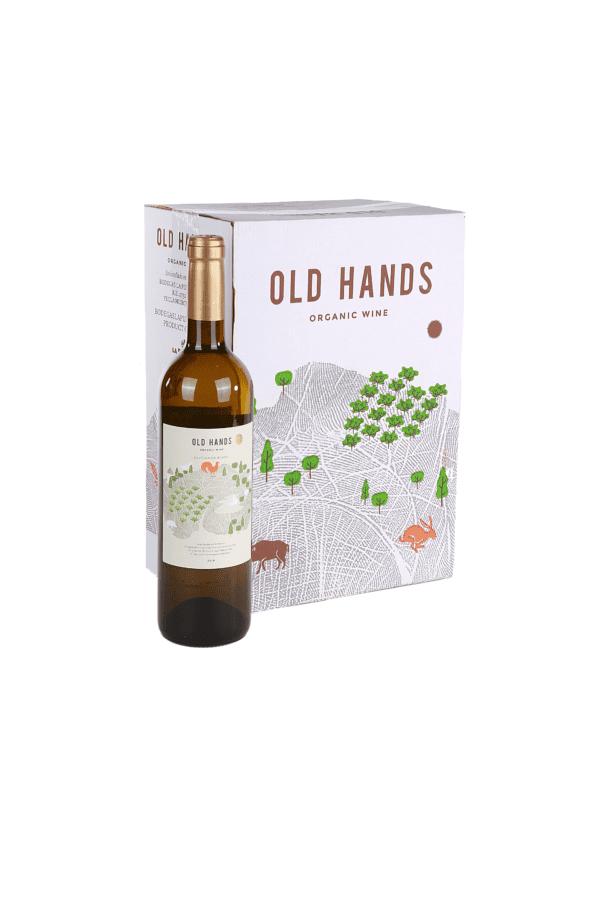 old hands witte wijn fles en doos